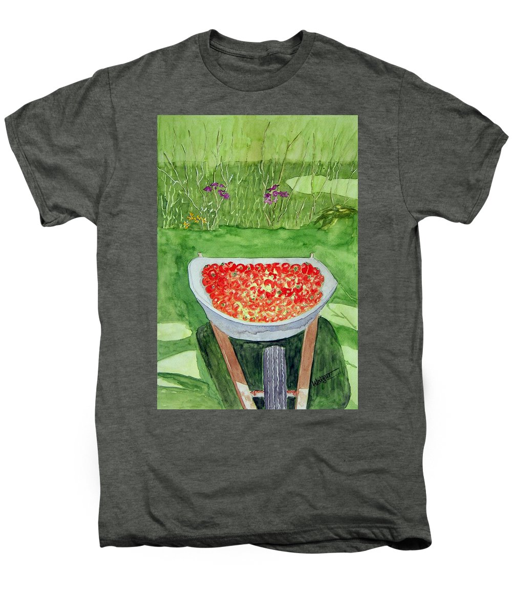 Rural Paintings Men's Premium T-Shirt featuring the painting Summer Bounty by Larry Wright