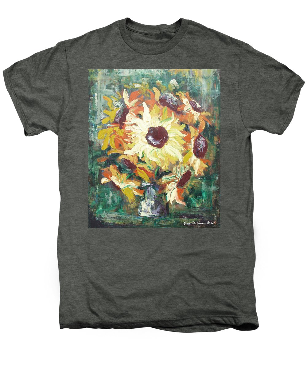 Sunflowers Men's Premium T-Shirt featuring the painting Sun In A Vase by Gina De Gorna