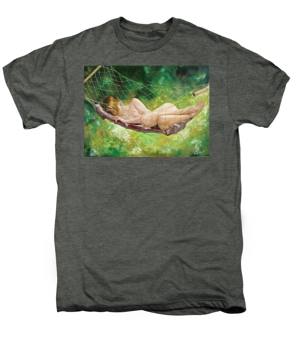 Oil Men's Premium T-Shirt featuring the painting The Dream In Summer Garden by Sergey Ignatenko