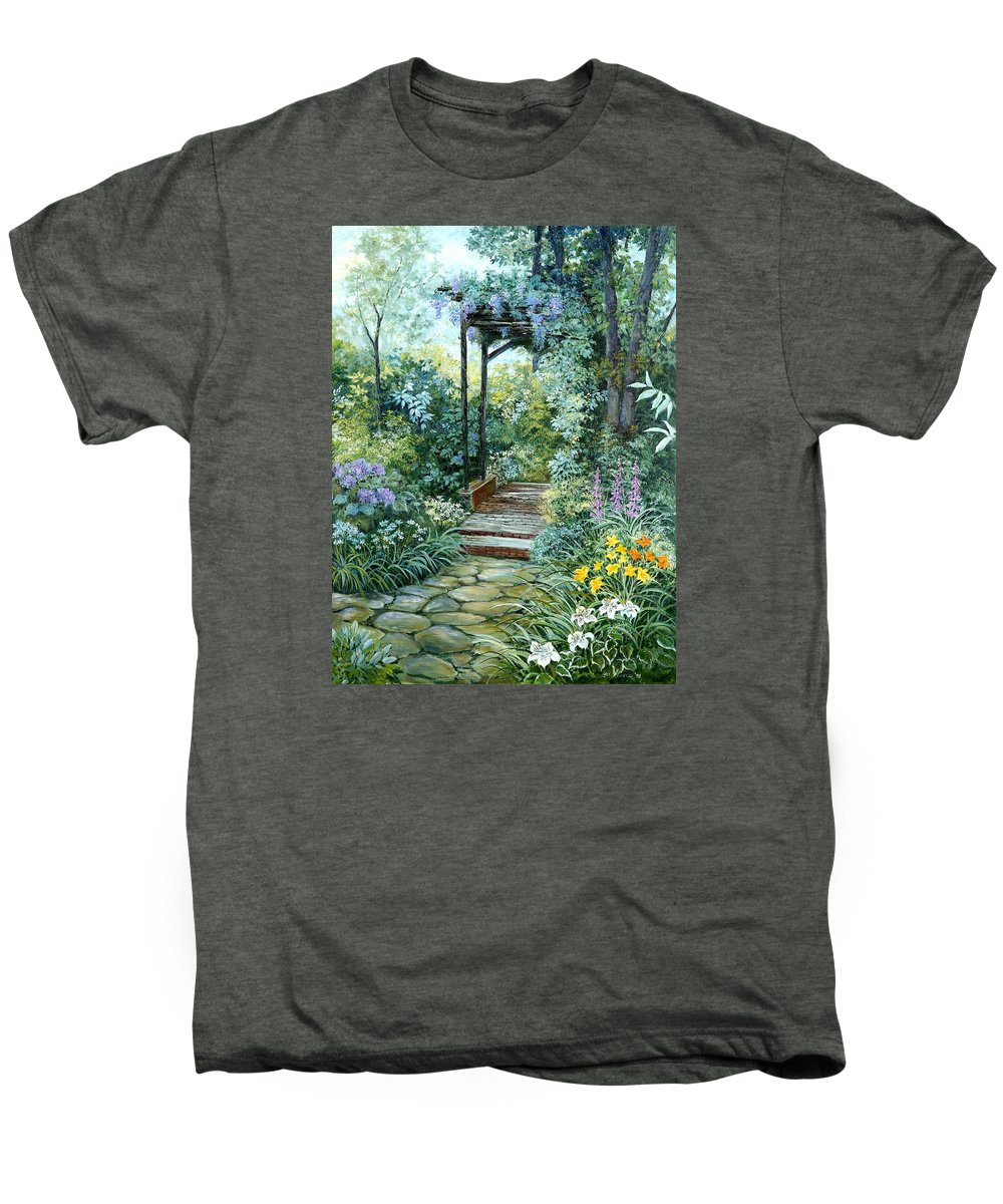 Oil Painting;wisteria;garden Path;lilies;garden;flowers;trellis;trees;stones;pergola;vines; Men's Premium T-Shirt featuring the painting The Garden Triptych Right Side by Lois Mountz