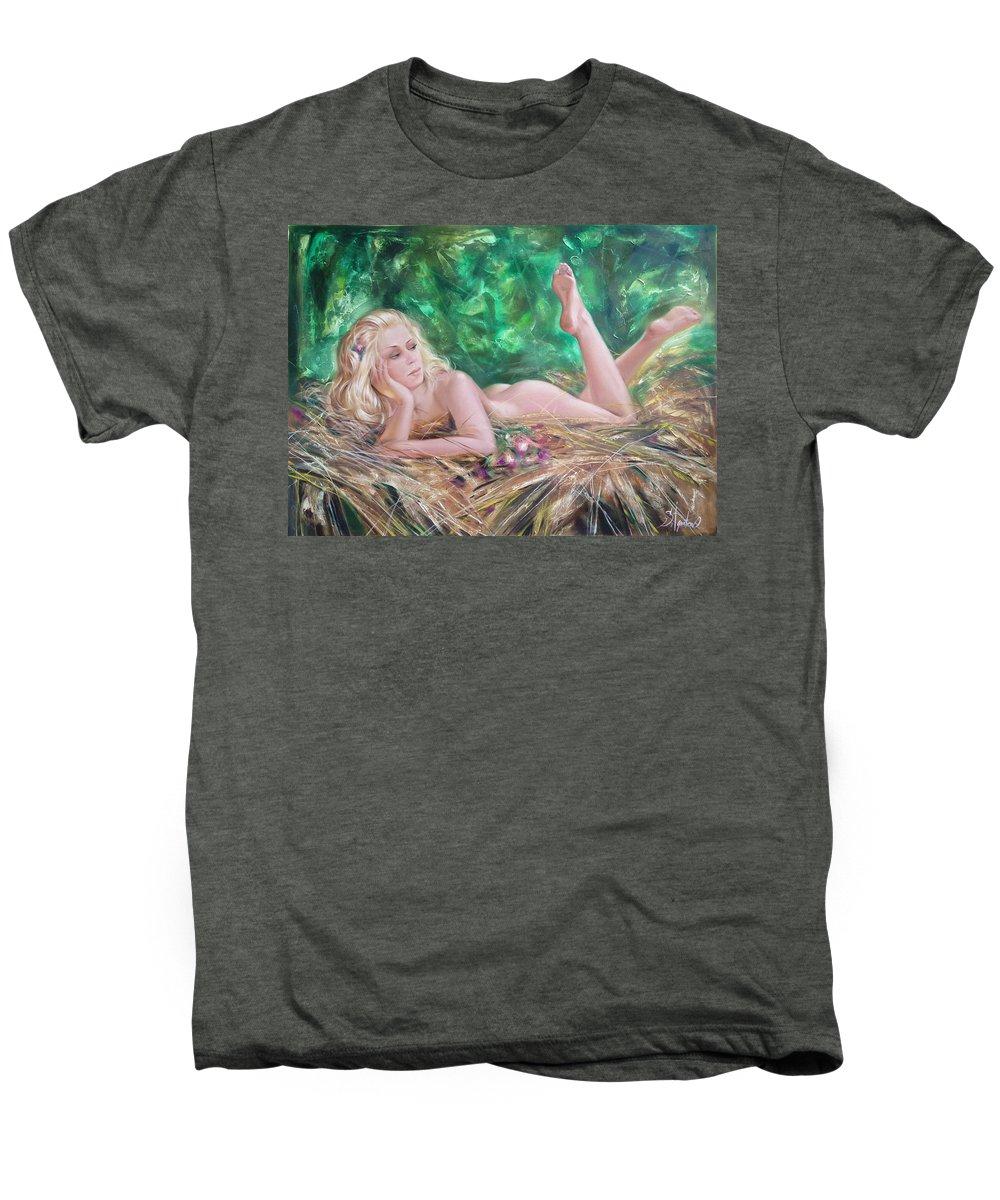 Ignatenko Men's Premium T-Shirt featuring the painting The Pretty Summer by Sergey Ignatenko