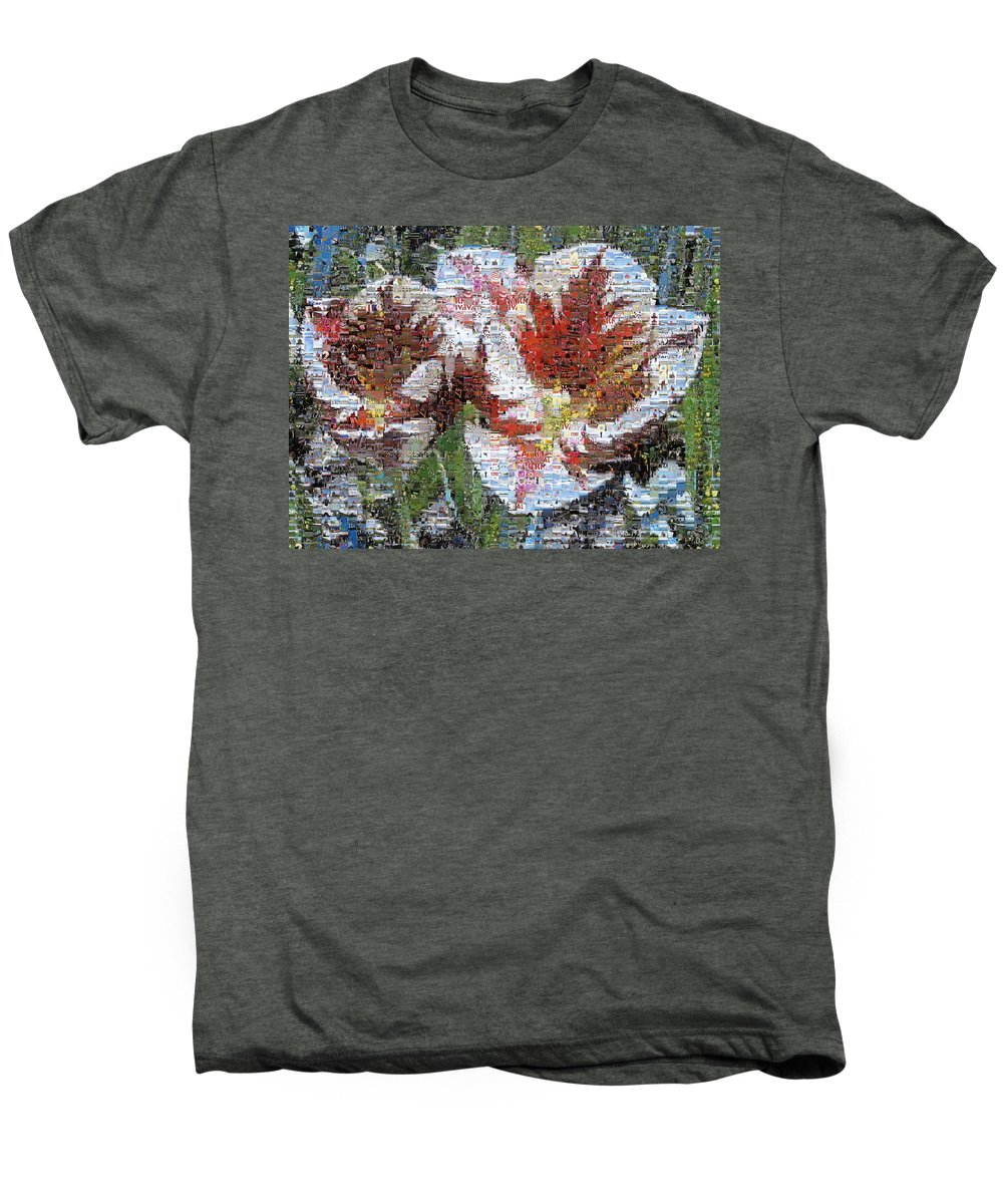 Lighthouse Men's Premium T-Shirt featuring the photograph Tulips In Springtime Photomosaic by Michelle Calkins