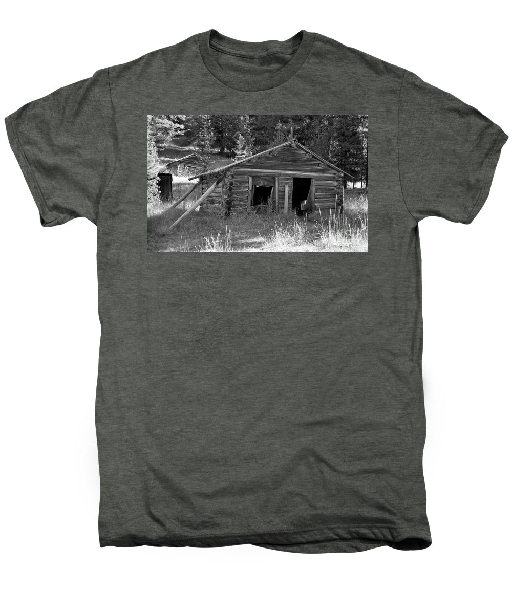 Abandoned Men's Premium T-Shirt featuring the photograph Two Cabins One Outhouse by Richard Rizzo