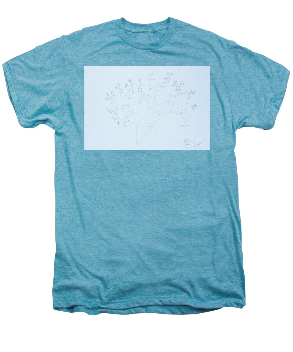 Fractal Tree Men's Premium T-Shirt featuring the drawing Quantum Tree by Jason Padgett