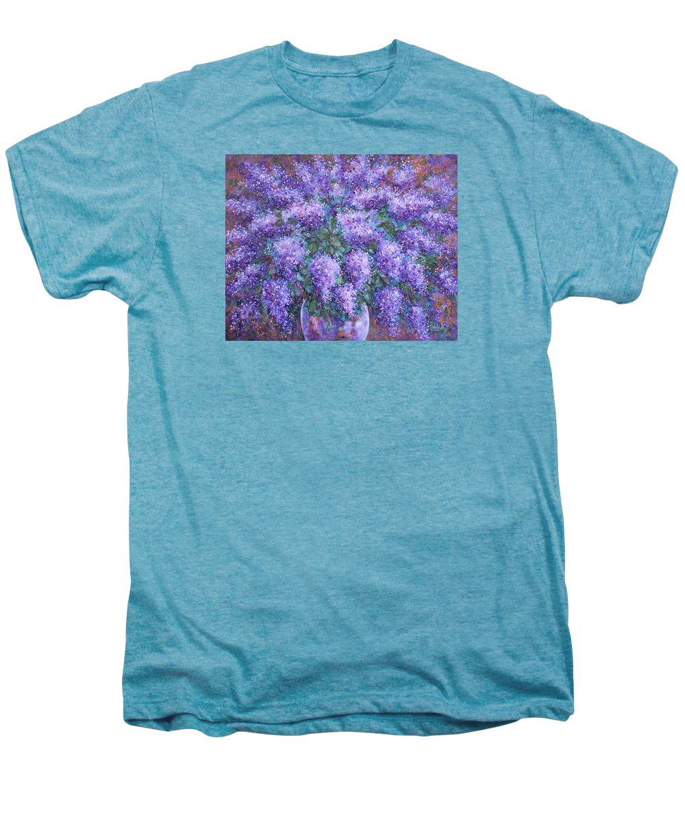 Flowers Men's Premium T-Shirt featuring the painting Scented Lilacs Bouquet by Natalie Holland