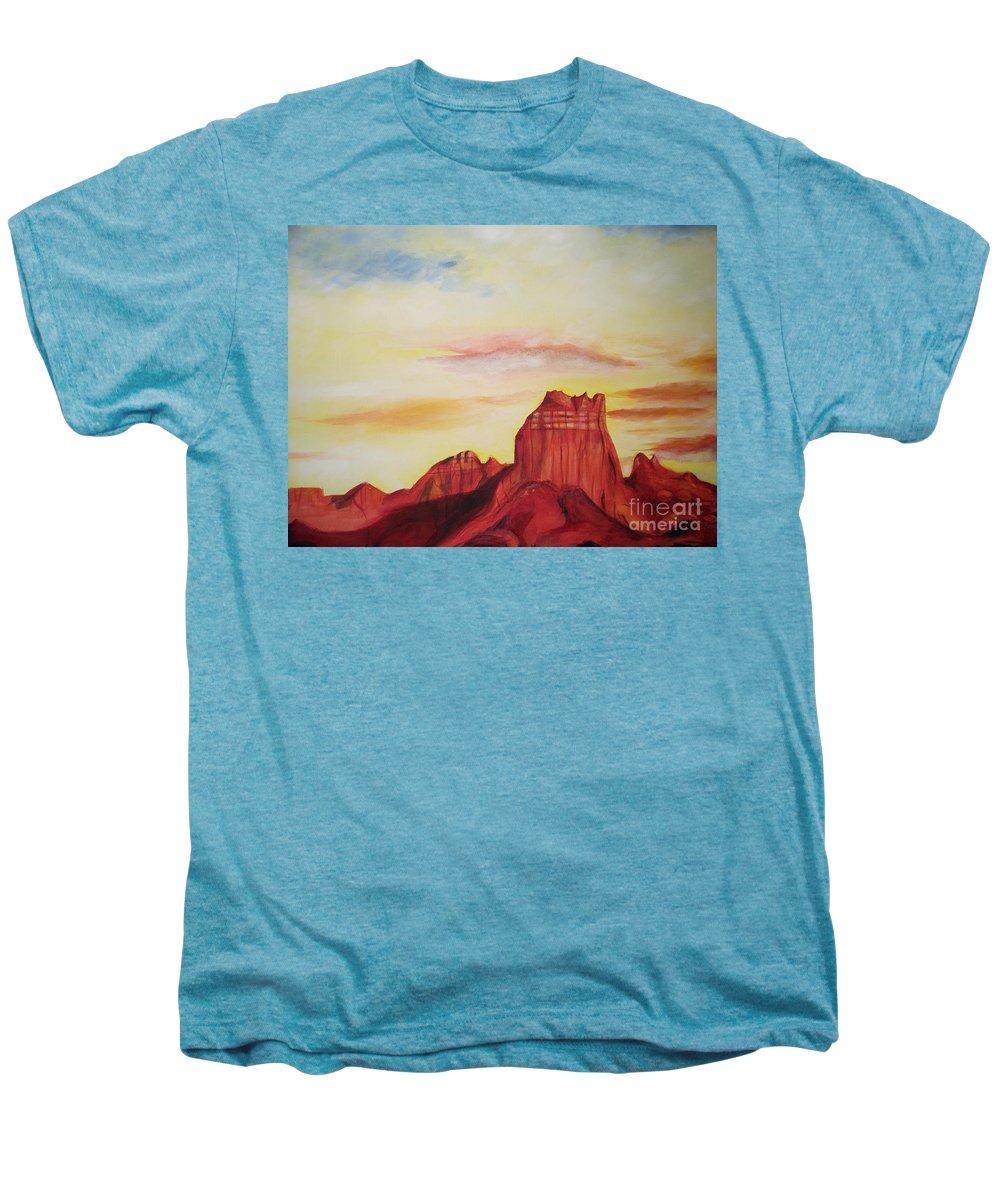 Western Men's Premium T-Shirt featuring the painting Sedona Az by Eric Schiabor