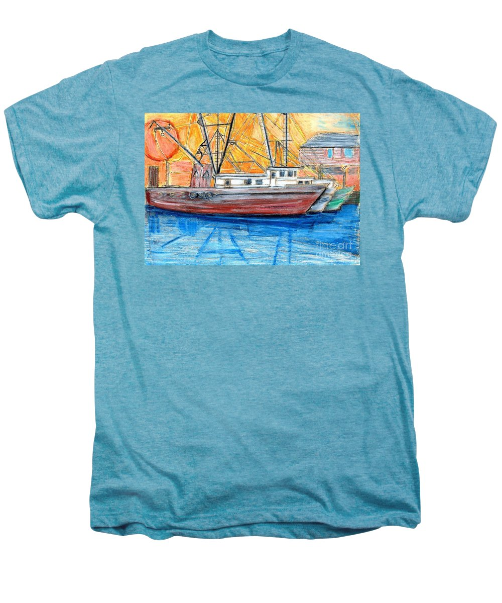 Fishing Men's Premium T-Shirt featuring the drawing Fishing Trawler by Eric Schiabor