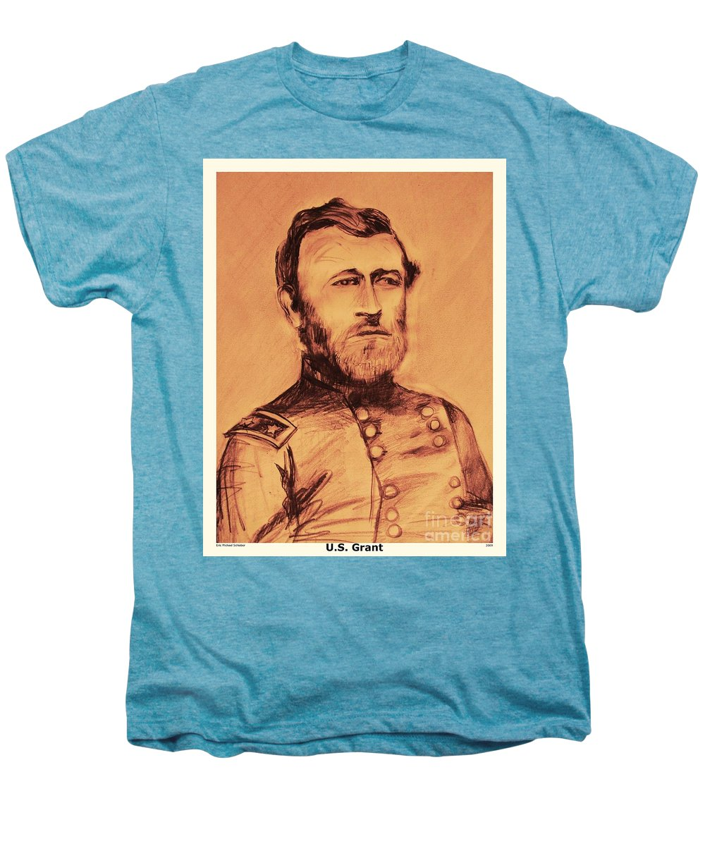 Grant Men's Premium T-Shirt featuring the painting General Us Grant by Eric Schiabor