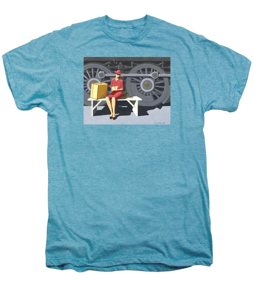 Woman Men's Premium T-Shirt featuring the painting Woman With Locomotive by Gary Giacomelli