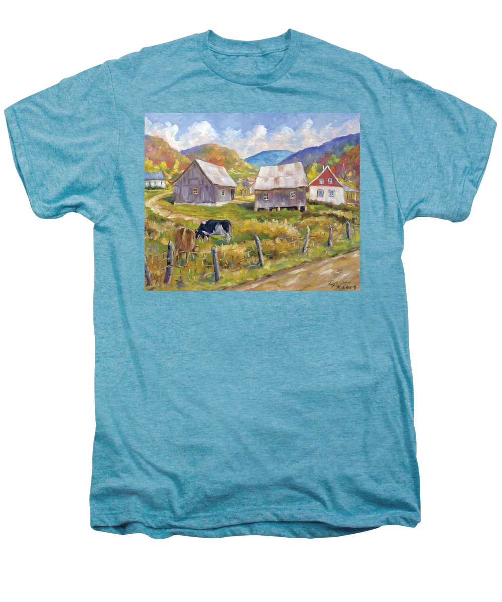 Art Men's Premium T-Shirt featuring the painting Charlevoix North by Richard T Pranke