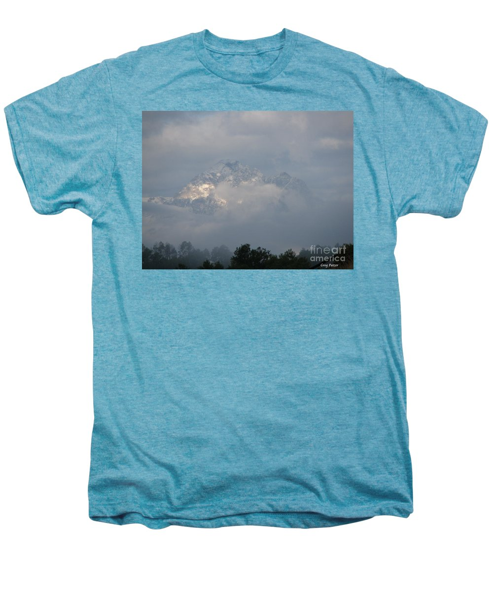 Rocky Mountains Men's Premium T-Shirt featuring the photograph Out Of The Clouds by Greg Patzer