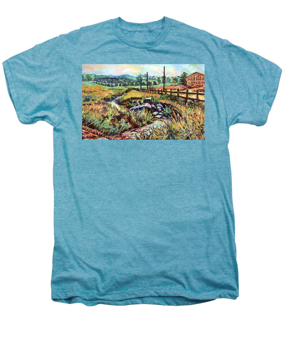 Landscape Paintings Men's Premium T-Shirt featuring the painting Stroubles Creek by Kendall Kessler