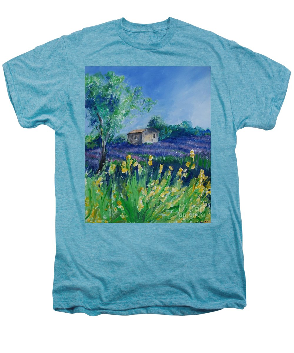 Provence Men's Premium T-Shirt featuring the painting Provence Lavender Field by Eric Schiabor