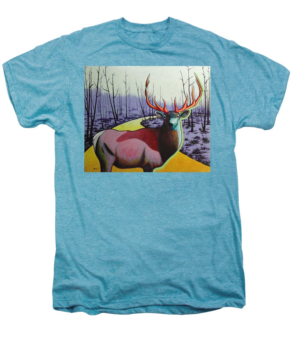Wildlife In Yellowstone Park Men's Premium T-Shirt featuring the painting A Close Encounter In Yellowstone by Joe Triano