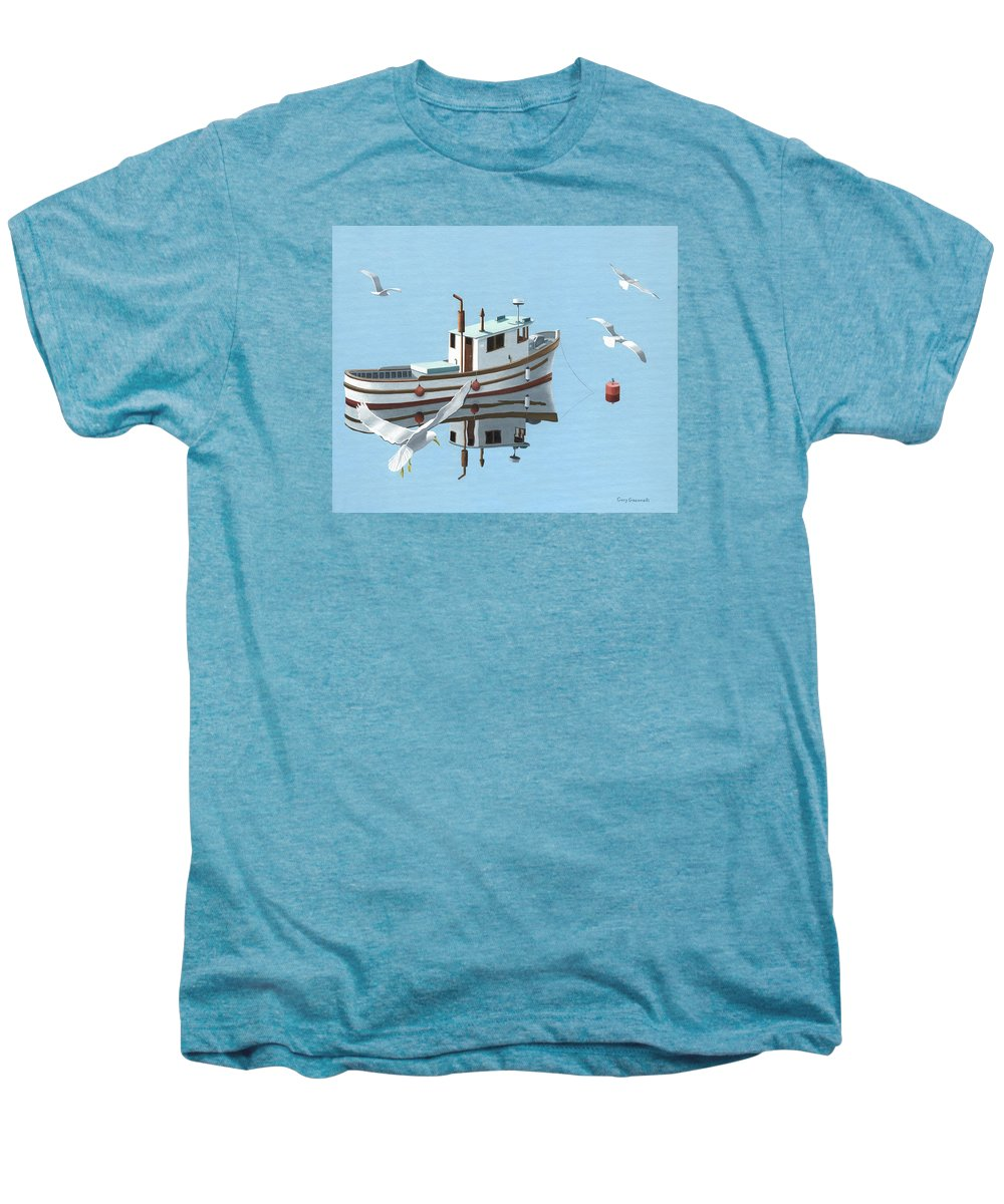 Boat Men's Premium T-Shirt featuring the painting A Contemplation Of Seagulls by Gary Giacomelli