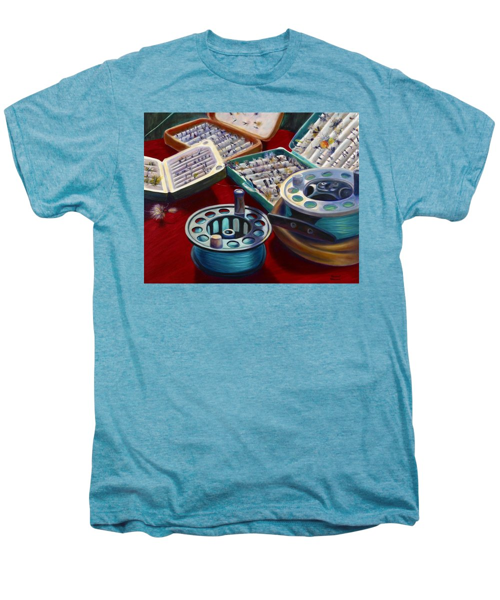 Still Life Men's Premium T-Shirt featuring the painting A Howard Runs Through It by Shannon Grissom
