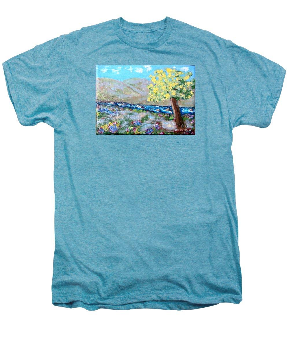 Landscapes Men's Premium T-Shirt featuring the painting A Quiet Place by Laurie Morgan