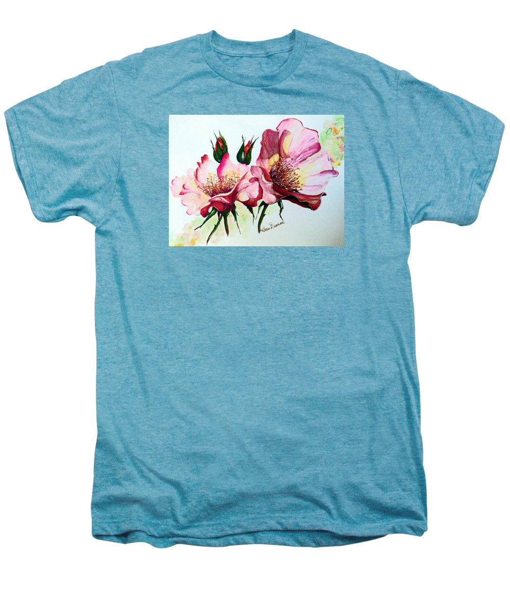 Flower Painting Men's Premium T-Shirt featuring the painting A Rose Is A Rose by Karin Dawn Kelshall- Best