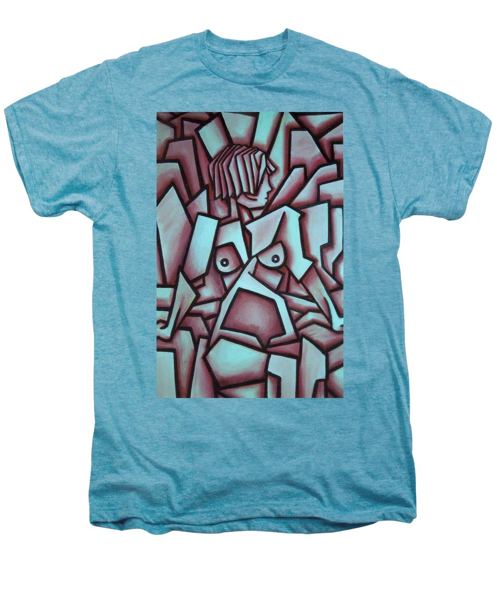 Abstact Men's Premium T-Shirt featuring the painting Abstract Girl by Thomas Valentine