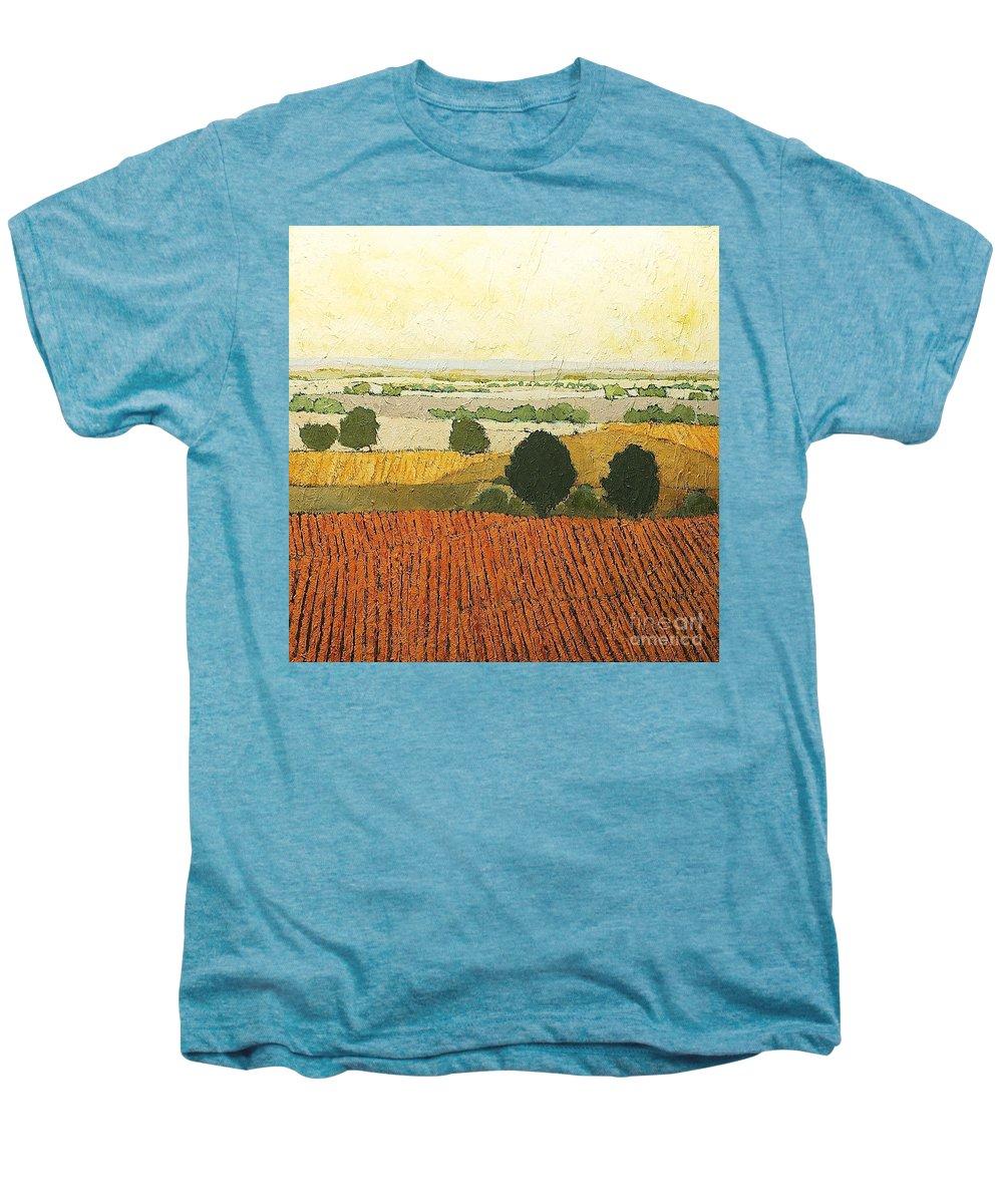 Landscape Men's Premium T-Shirt featuring the painting After Harvest by Allan P Friedlander