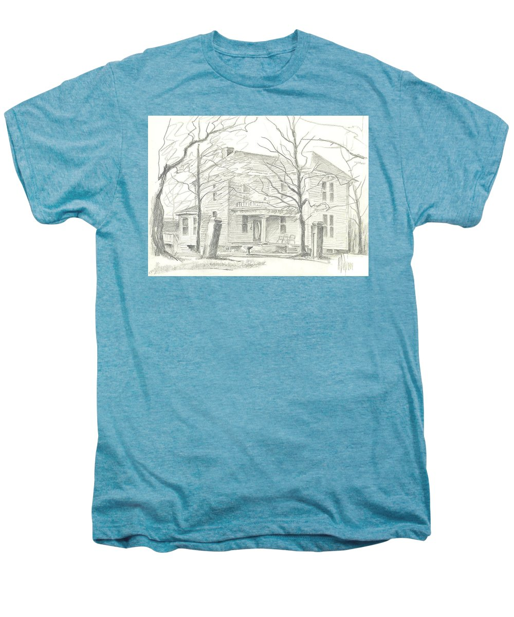 American Home Ii Men's Premium T-Shirt featuring the drawing American Home II by Kip DeVore