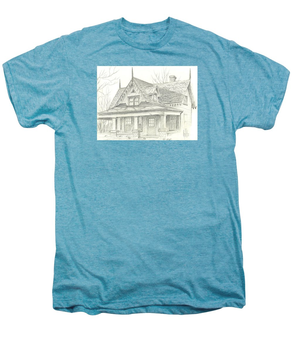 American Home Men's Premium T-Shirt featuring the drawing American Home by Kip DeVore