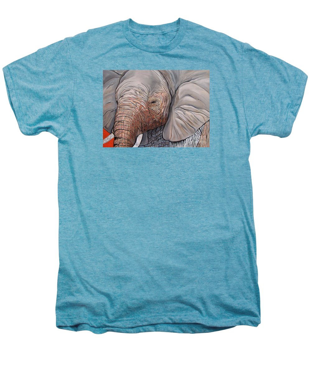 Elephant Bull Painting Men's Premium T-Shirt featuring the painting Are You There by Aimee Vance