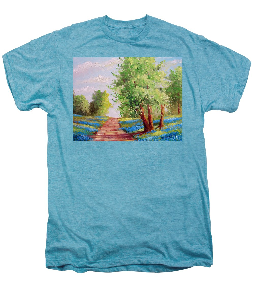 Bluebonnets Men's Premium T-Shirt featuring the painting Backroad Bluebonnets by David G Paul