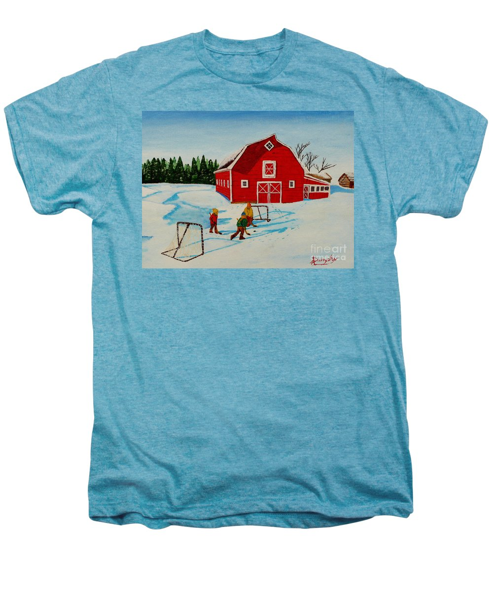 Hockey Men's Premium T-Shirt featuring the painting Barn Yard Hockey by Anthony Dunphy