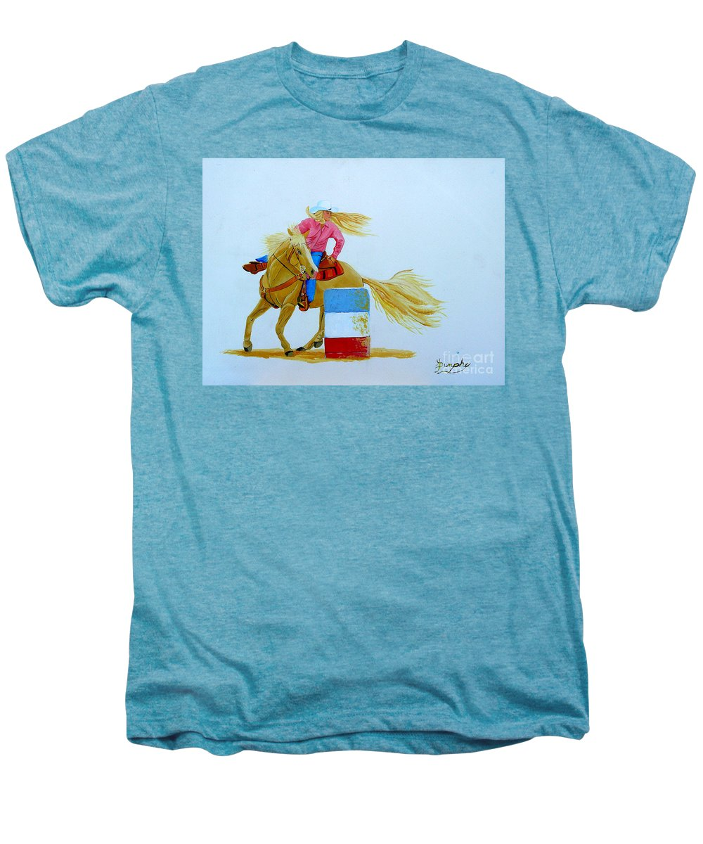 Rodeo Men's Premium T-Shirt featuring the painting Barrel Racer by Anthony Dunphy