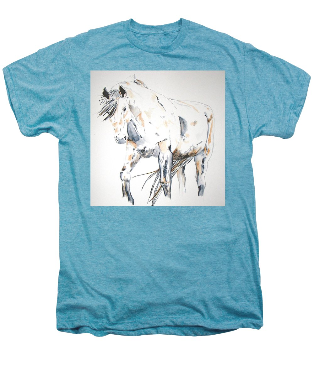 Horse Men's Premium T-Shirt featuring the painting Beauty by Crystal Hubbard