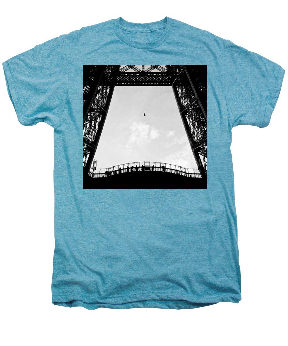 Eiffel Tower Men's Premium T-Shirt featuring the photograph Birds-eye View by Dave Bowman