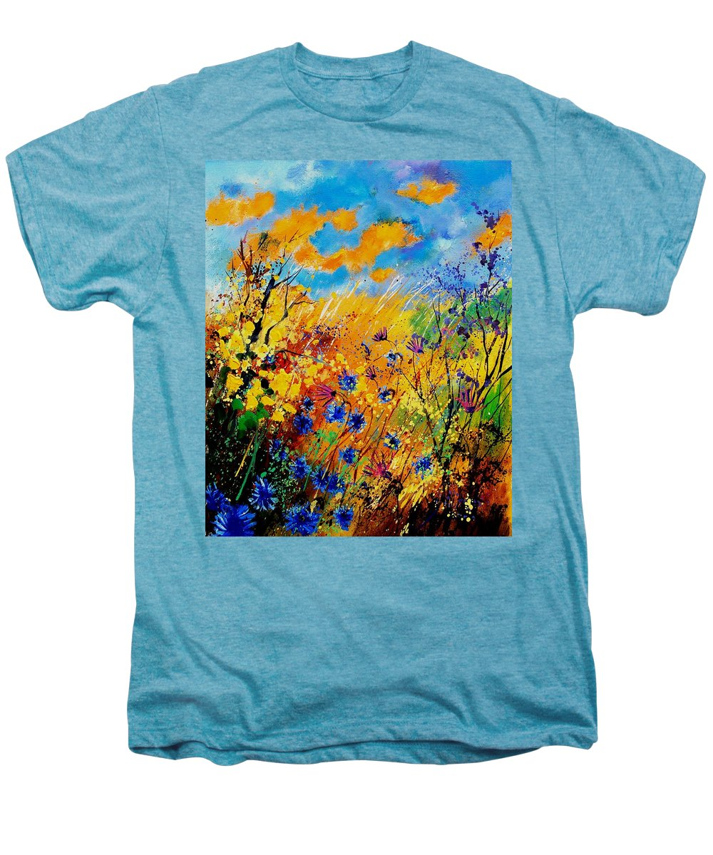 Poppies Men's Premium T-Shirt featuring the painting Blue Cornflowers 450408 by Pol Ledent