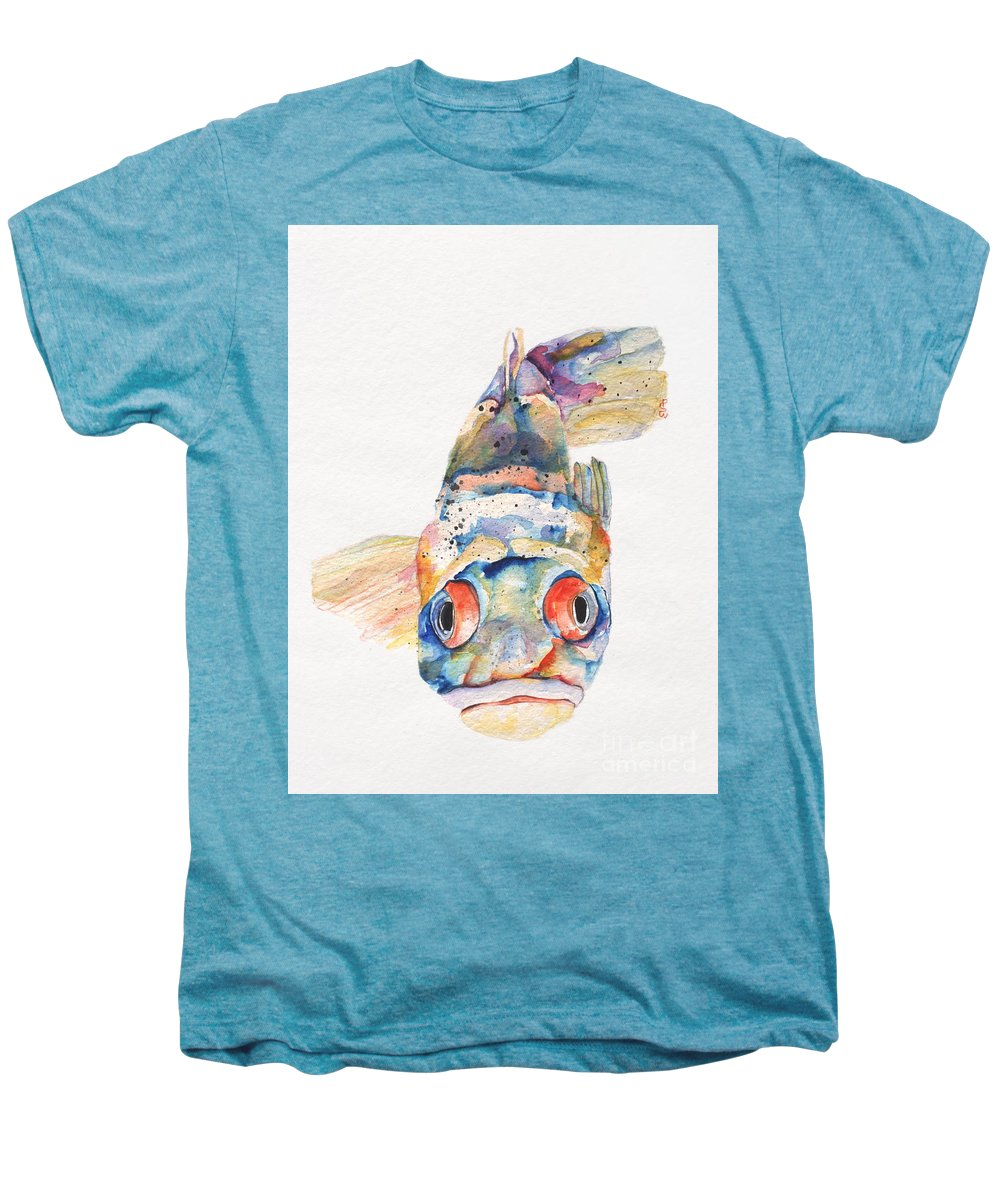 Pat Saunders-white Men's Premium T-Shirt featuring the painting Blue Fish  by Pat Saunders-White