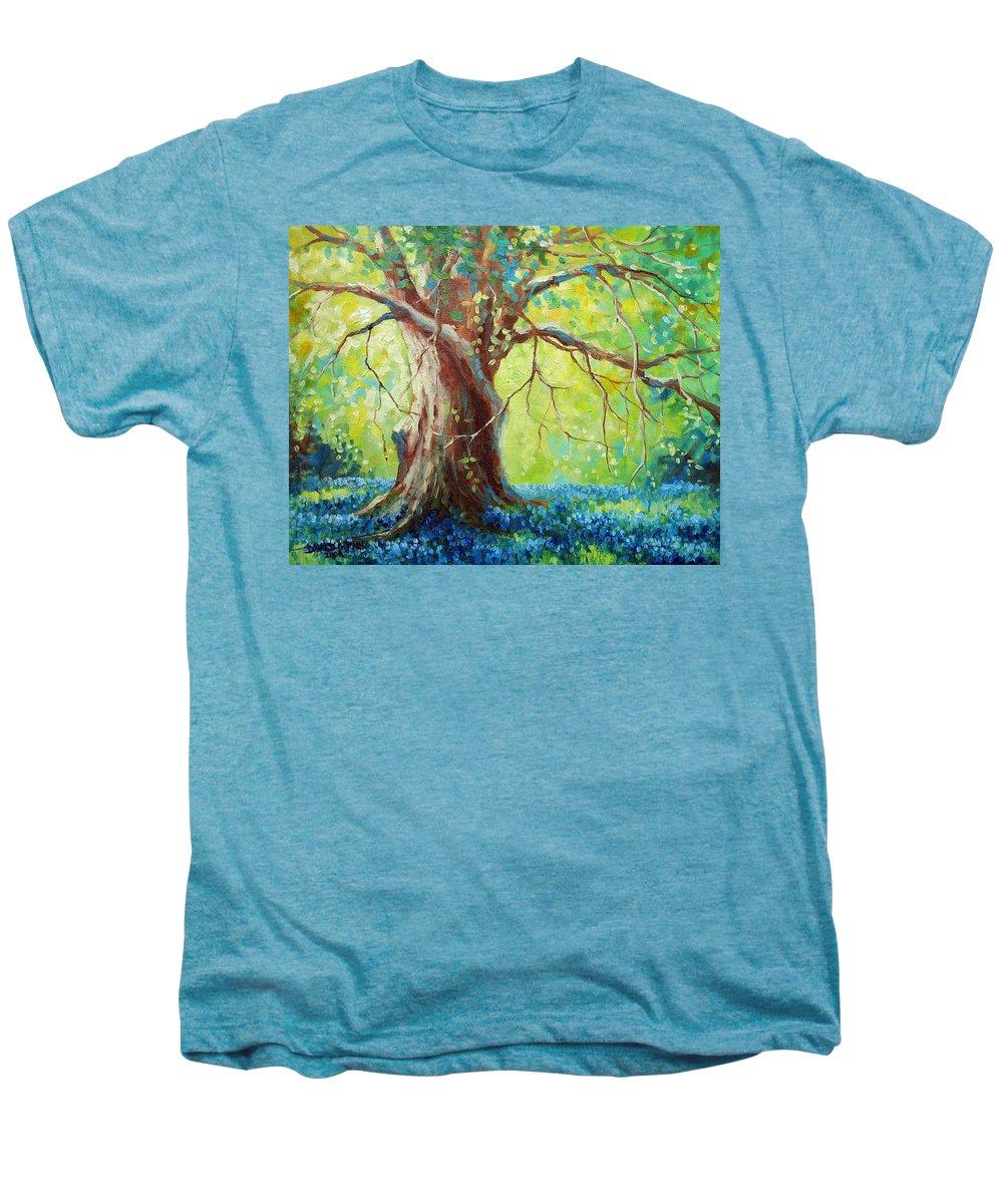 Bluebonnets Men's Premium T-Shirt featuring the painting Bluebonnets Under The Oak by David G Paul