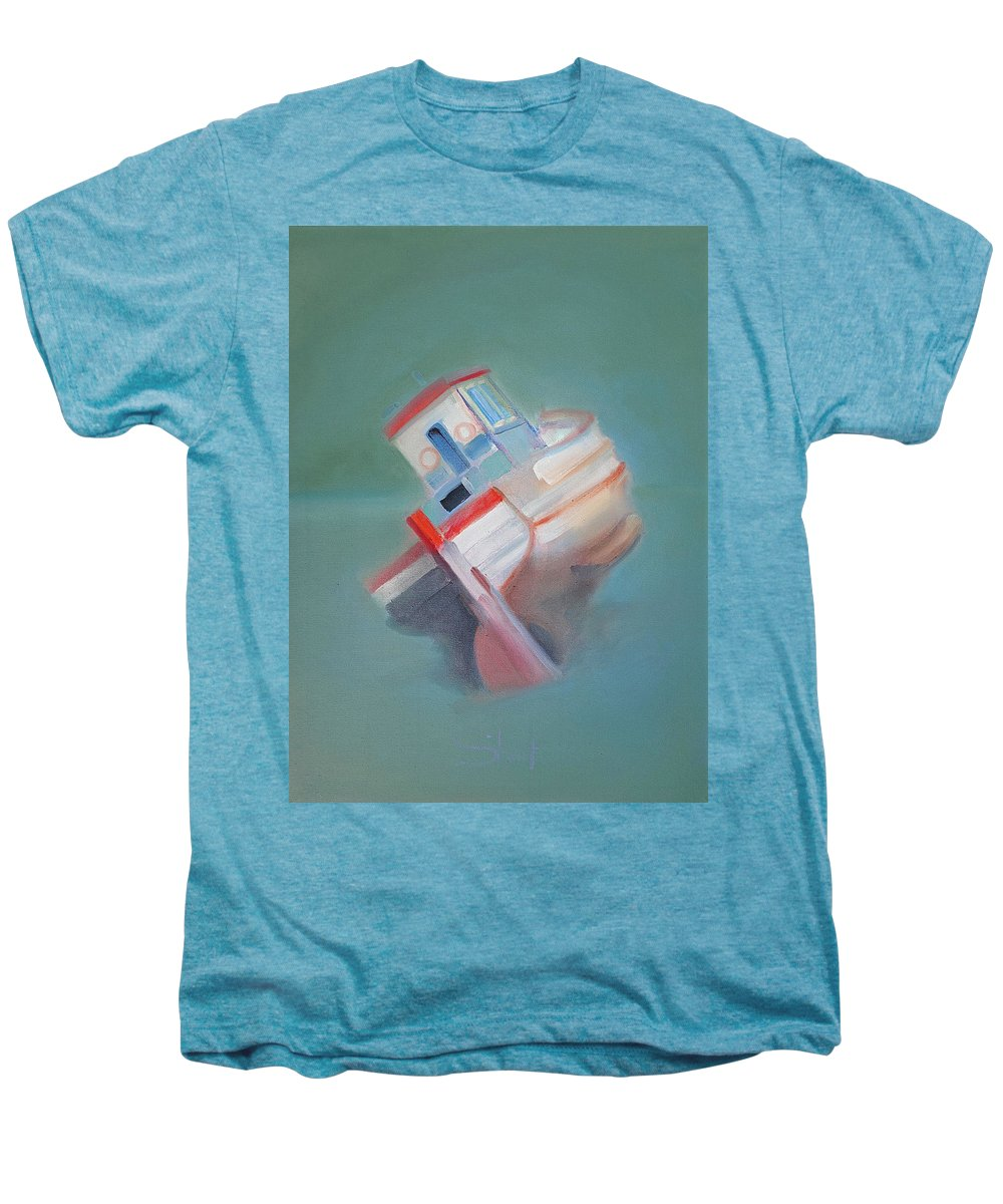Fishing Boat Men's Premium T-Shirt featuring the painting Boat Retired Tavira by Charles Stuart