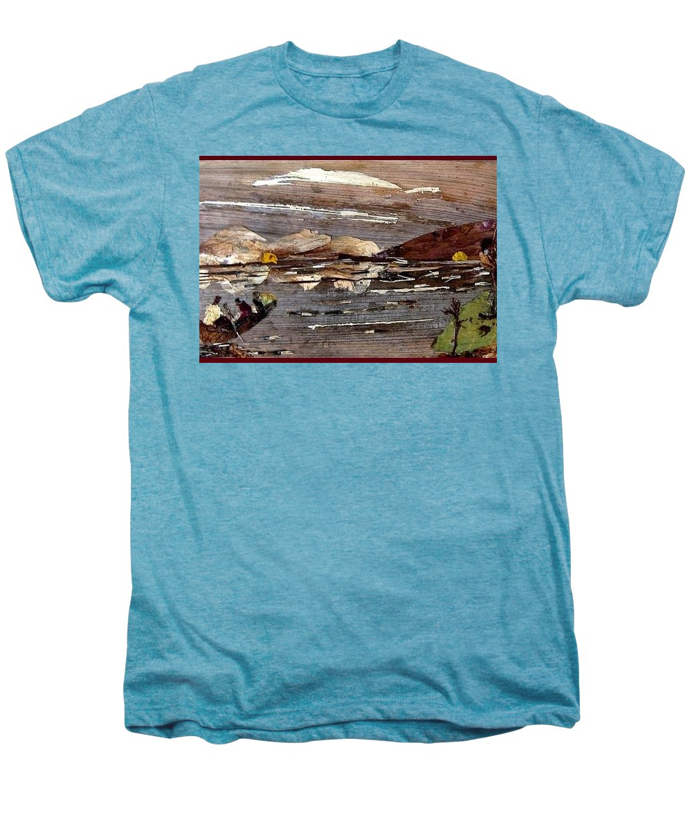 Boating Scene Men's Premium T-Shirt featuring the mixed media Boating In River by Basant Soni