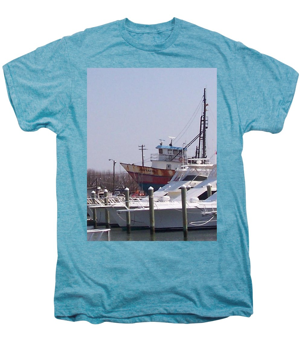 Boat Men's Premium T-Shirt featuring the photograph Boats Docked by Pharris Art