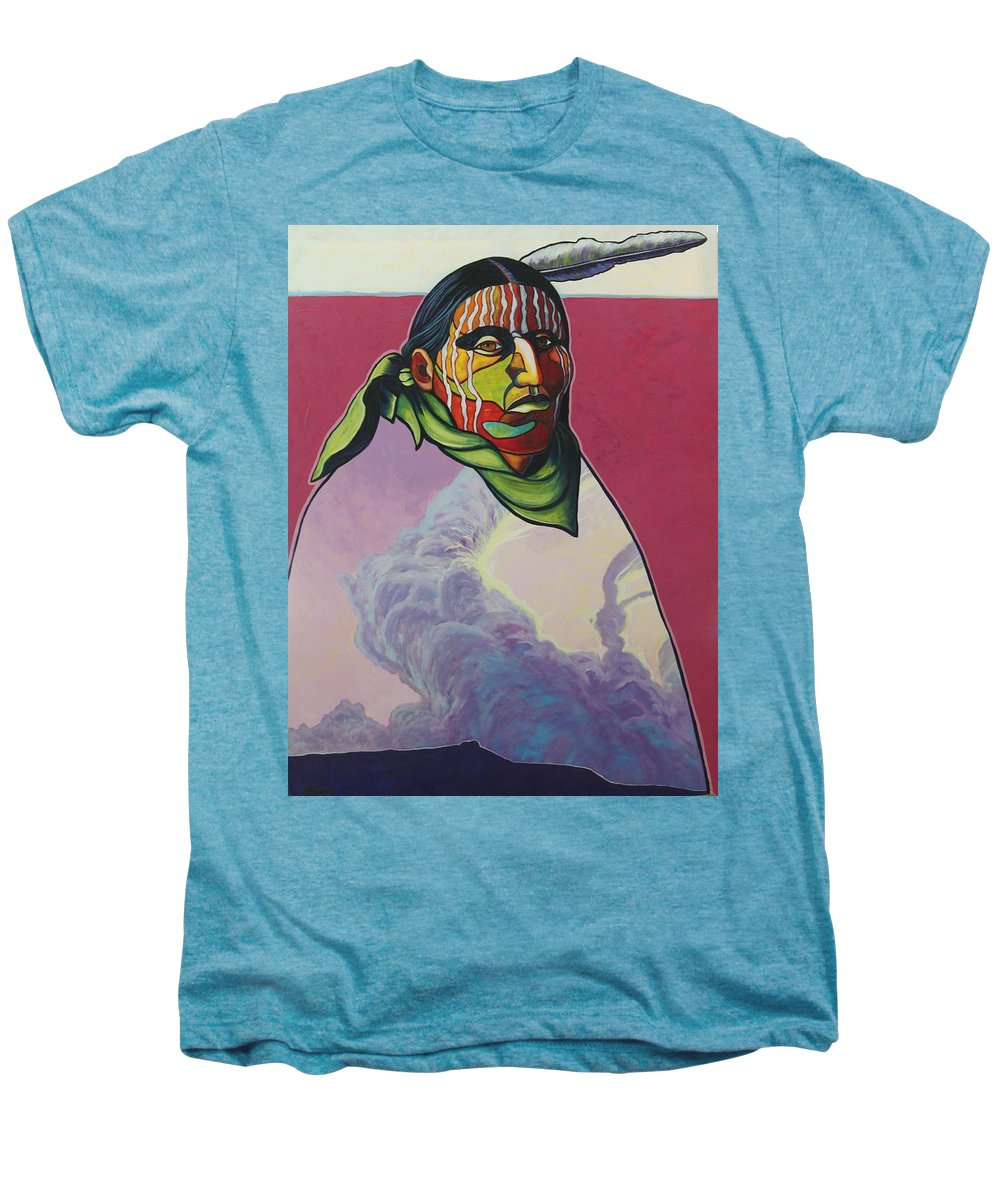 Native American Indian Men's Premium T-Shirt featuring the painting Body And Soul by Joe Triano