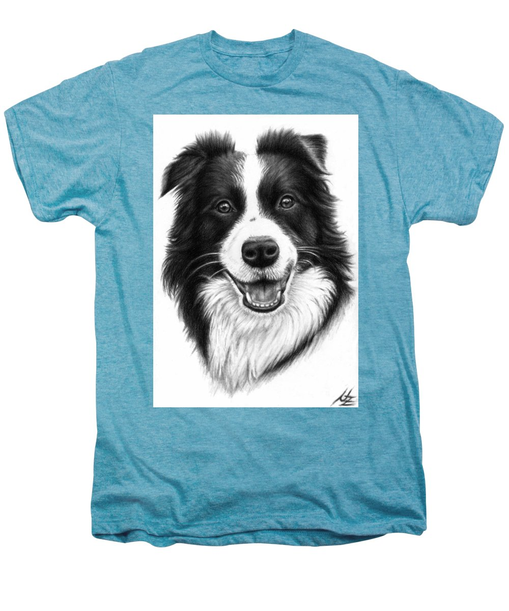 Dog Men's Premium T-Shirt featuring the drawing Border Collie by Nicole Zeug
