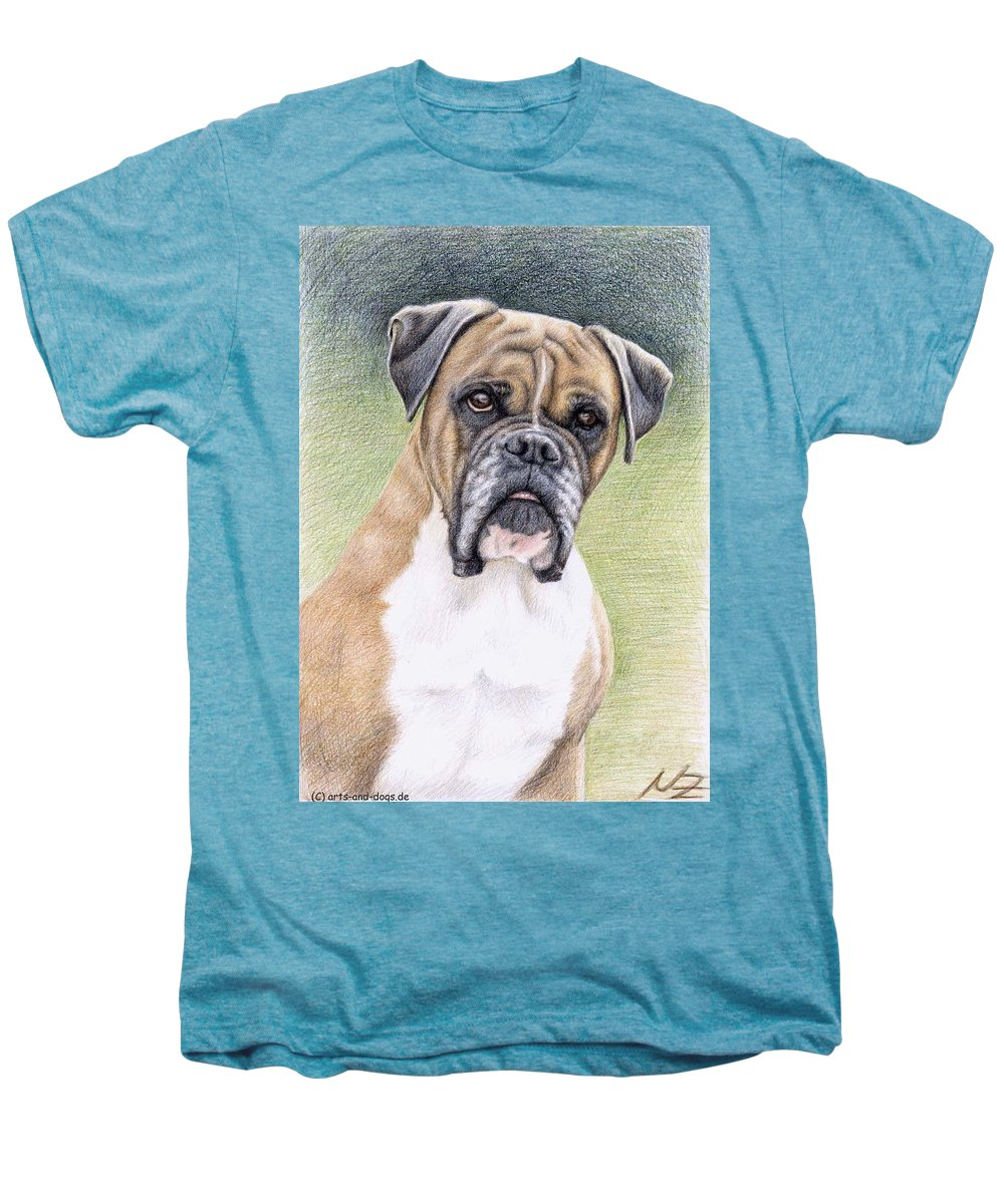 Dog Men's Premium T-Shirt featuring the drawing Boxer Portrait by Nicole Zeug