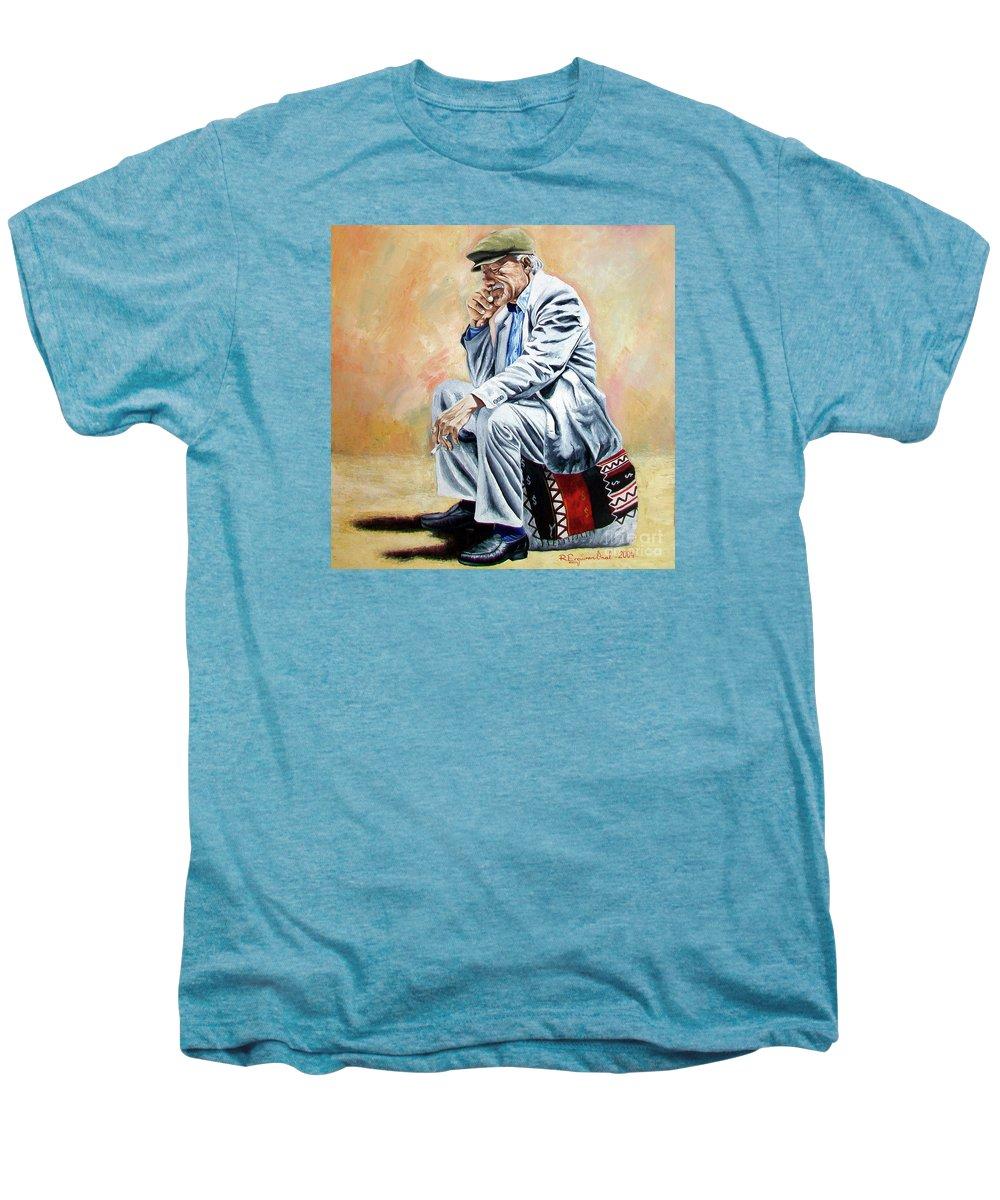 Figurative Men's Premium T-Shirt featuring the painting Break For Smoking - Apeadero Para Fumar by Rezzan Erguvan-Onal