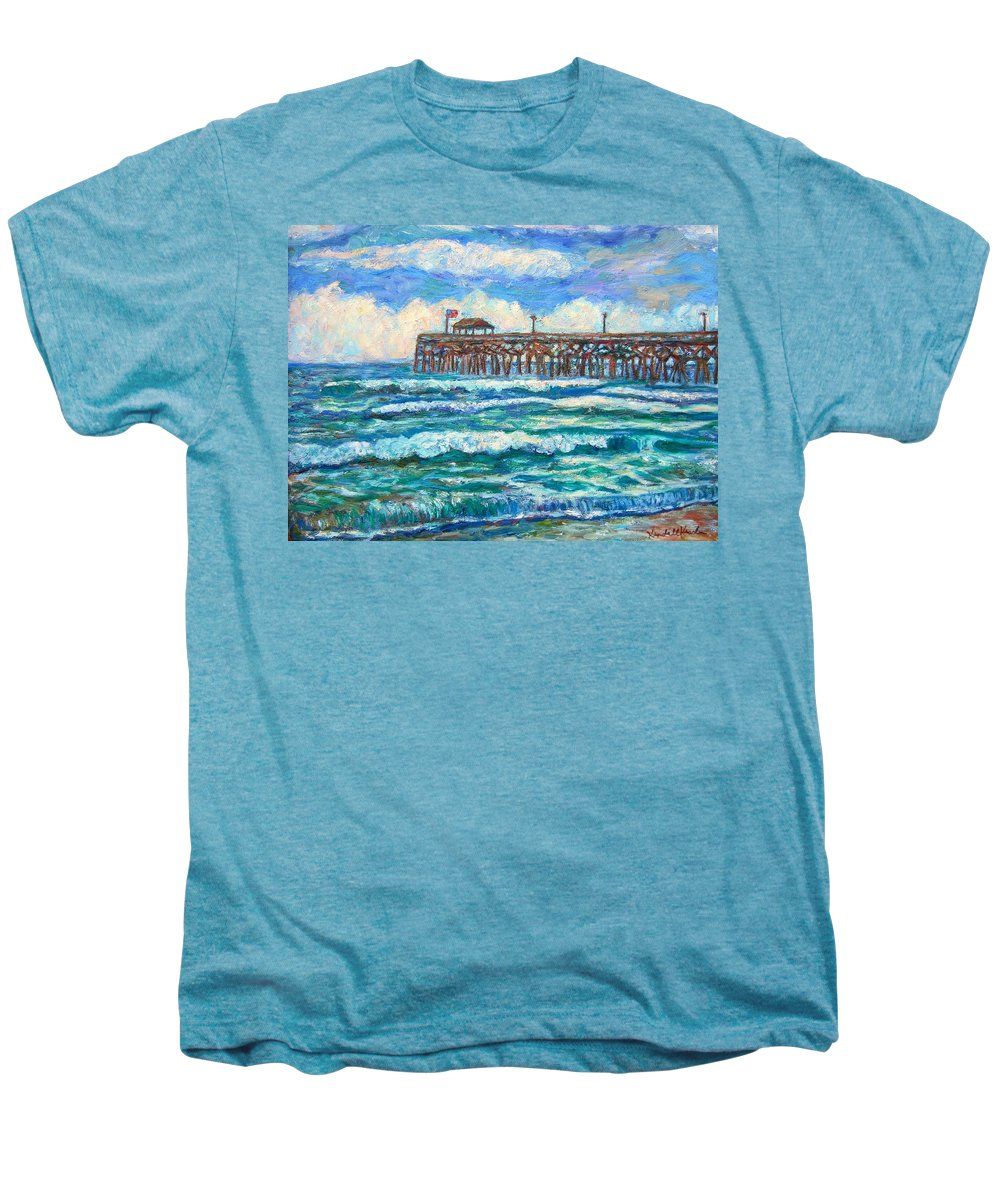 Shore Scenes Men's Premium T-Shirt featuring the painting Breakers At Pawleys Island by Kendall Kessler