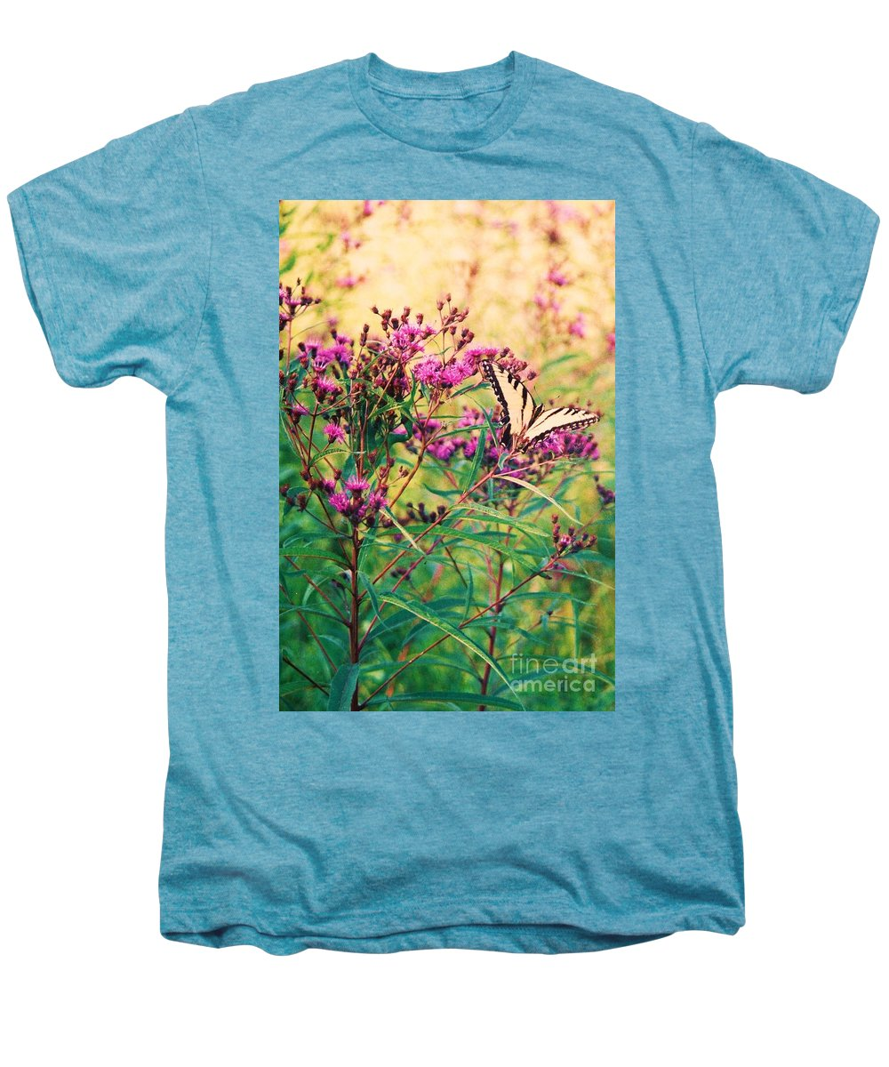 Floral Men's Premium T-Shirt featuring the painting Butterfly Wildflower by Eric Schiabor