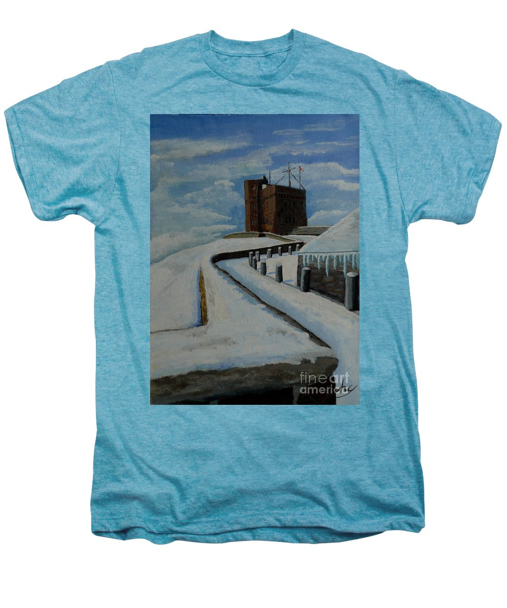 Landscape Men's Premium T-Shirt featuring the painting Cabot Tower Newfoundland by Anthony Dunphy