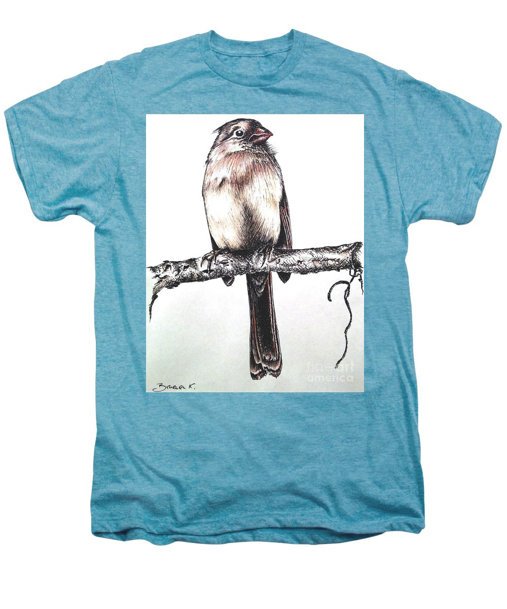 Ink Sketch Men's Premium T-Shirt featuring the drawing Cardinal Female by Katharina Filus