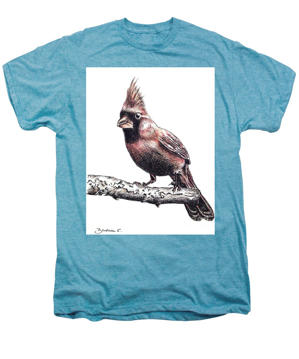 Ink Sketch Men's Premium T-Shirt featuring the drawing Cardinal Male by Katharina Filus