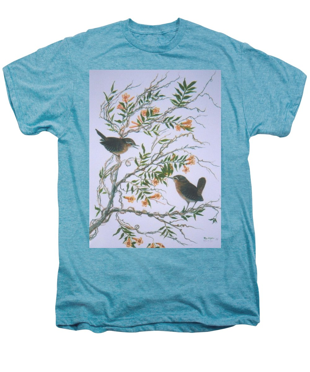 Bird; Flowers Men's Premium T-Shirt featuring the painting Carolina Wren And Jasmine by Ben Kiger