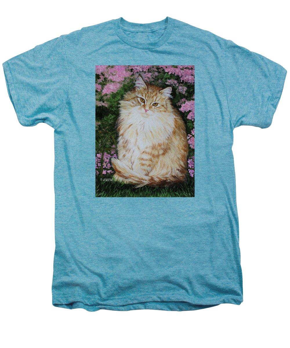 'cat Print Fine Art Men's Premium T-Shirt featuring the painting Kitten Cat Painting Perfect For Child's Room Art by Diane Jorstad