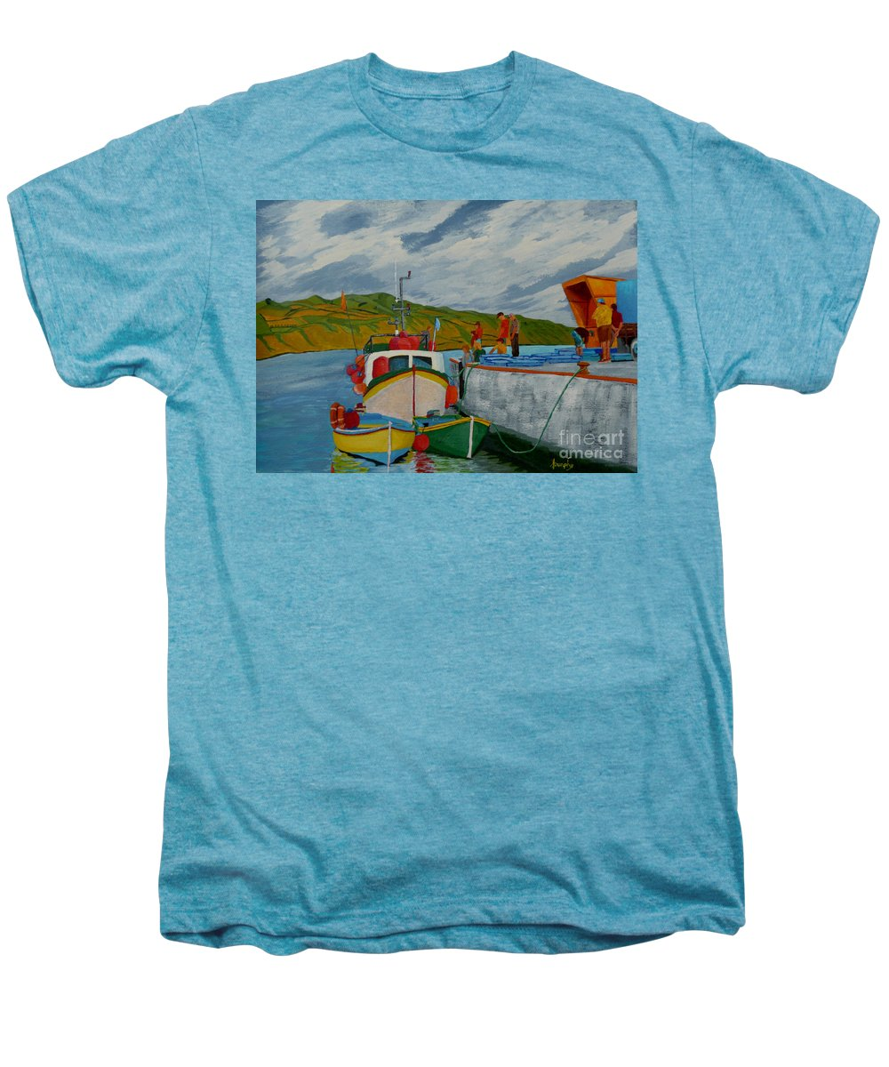 Boats Men's Premium T-Shirt featuring the painting Catch Of The Day by Anthony Dunphy